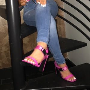Missguided Shoes - Missguided Pink Buckle Strap Heels Size 7